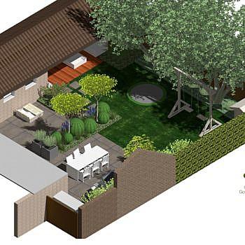 3D isometrie tekening tuin